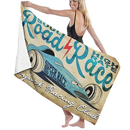 Grande Suave Toalla de Baño Manta,Cars New York Racing Club Race Car from Twenties Road Race Team Old School Cool Design,Hoja de Baño Toalla de Playa por la Familia Viaje Nadando Deportes,52' x 32'