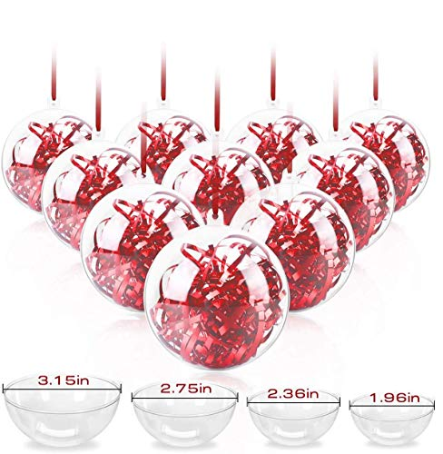 RATEL 20 Pack Transparent Christmas Balls, 50, 60, 70, 80mm Clear Christmas Baubles to Fill, Snap-On Plastic Baubles for Decorating & Ornament, Shatterproof