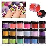 Polvere per unghie 18 colori, Acrilici Nail Art Suggerimenti Gel UV Intaglio Polvere Design Decorazione 3D Fai da Te Set di Decorazione Nail Art Glitter, Prodotto per nail art