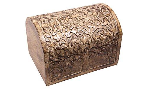 nxtbuy Truhe Lebensbaum - Schatzkiste mit dekorativer Holzschnitzerei - Handarbeit aus Echtholz - Schatztruhe aus Echtholz, Größe:Groß