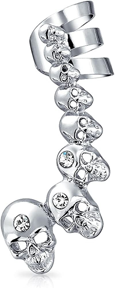 Fashion Statement Large Cartilage Skull Helix Ear Cuff Crystal Climber Lobe Earrings For Women For Men Stainless Steel