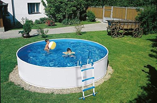 well2wellness Schwimmbecken Rundbecken Poolset Splash 300 x 90 cm inkl. Sandfilteranlage Azuro 2, Sicherheitsleiter, Skimmer, Schlauch, Sand und Bodenschutzvlies