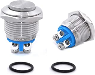 Coolais 16mm Pushbutton Momentary Switches Push Buttons Momentary Push Button Safety Switch NO Start Stop Push Button Motor On Off Switch with 2 Screw Terminals Stainless Steel 5A 250VAC PBSM-06