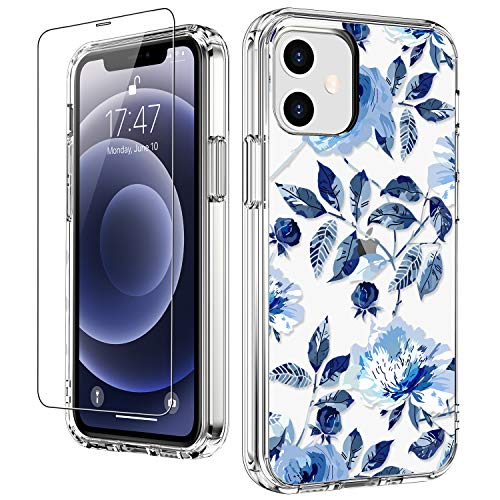 """LUHOURI for iPhone 12 Case,iPhone 12 Pro Case with Screen Protector,Cute Blue Floral Flower Designs on Crystal Clear Cover for Women Girls,Protective Phone Case for iPhone 12/12 Pro 6.1"""""""