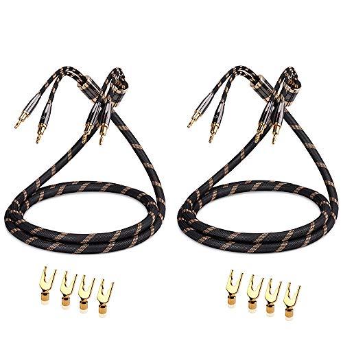 Cable de Altavoz SKW Audiophile, Cable de Enchufe Banana Intercambiable, Enchufe Chapado en Oro, Trenza de Nylon, Cable de Alta fidelidad (2.5 M, Negro, 2PC / Set)