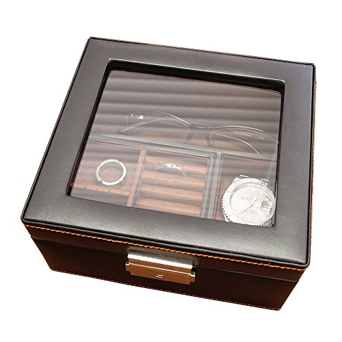 """メンズジュエリーボックス """"お父さんの宝箱""""(ショートバージョン/名入れなし)レザー調 時計・眼鏡・アクセサリー・キーホルダーを収納【プレゼント・ギフト・贈り物に最適】退職 誕生日 還暦 喜寿 古希 米寿 お祝い"""