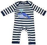 HARIZ Baby Strampler Streifen Wal Süß Tiere Kindergarten Inkl. Geschenk Karte Navy Blau/Washed Weiß 12-18 Monate