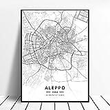 Kunstdrucke Leinwand Aleppo Syrien Schwarz-Weiß-Stadt