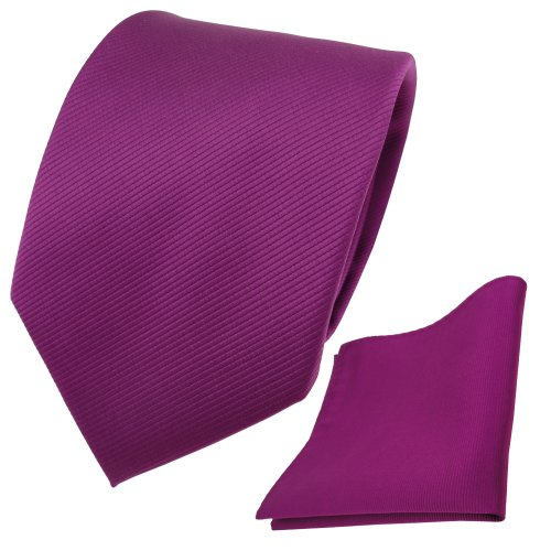 TigerTie Krawatte + Einstecktuch magenta fuchsia violett Uni Rips - Binder Tuch