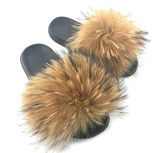 MAGIMODAC Kunstfell Pantoffeln Damen Pelz Hausschuhe Sandal Slipper Flauschig rutschfest (Original, Numeric_38)