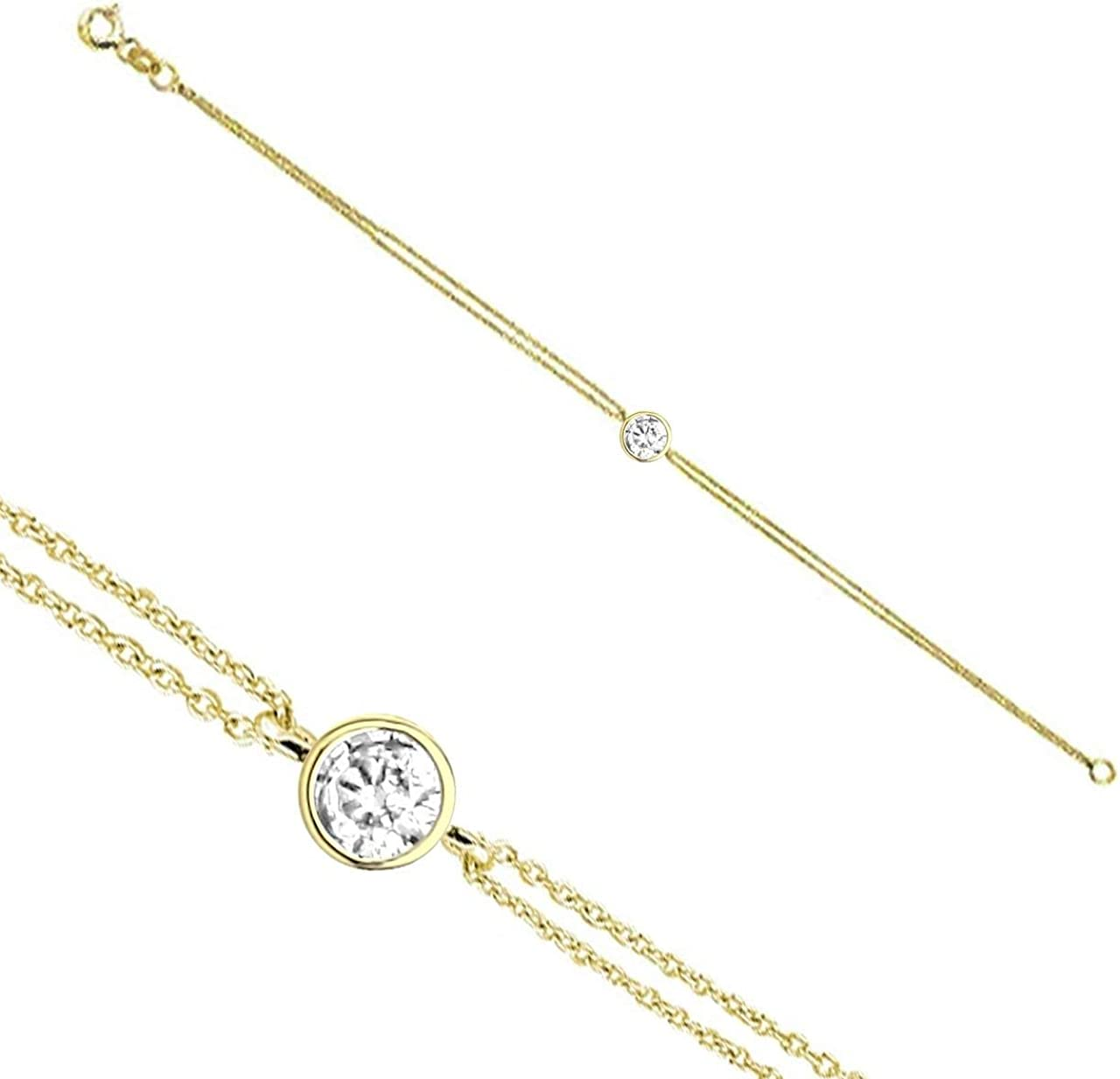 Anelise Solitaire discount Chain Pendant 14k Yellow 1 Solid Gold Chicago Mall Bracelet