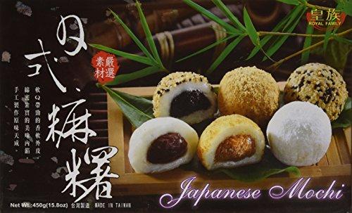 Mochi Dulce Japonés Sabores Mixtos (Judias Adzuki Rojos, Sésamo, Cacahuetes) - Royal Family 15 Piezas (450g.)