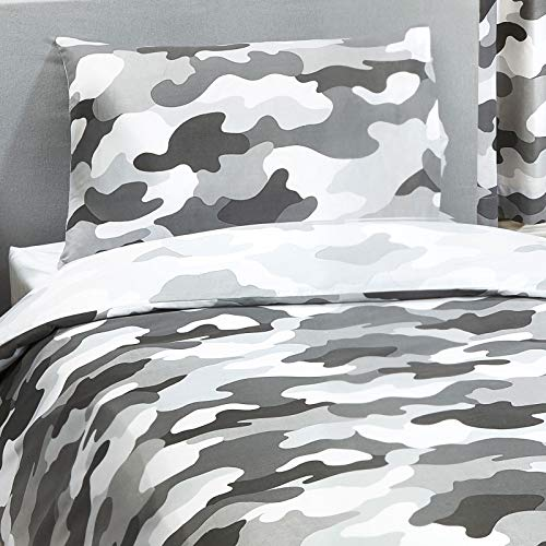 Price Right Home Grey Army Camouflage Reversible Single Duvet Cover and Pillowcase Set