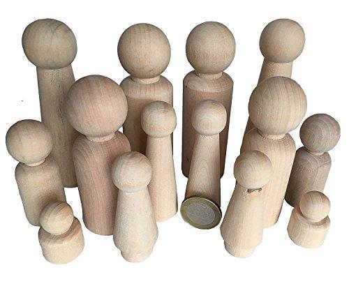 MEIERLE & Söhne 14 Familie Männchen Figuren Holzfiguren Spielfiguren zum Bemalen Basteln Holz Puppen Krippenfiguren Spielfiguren Mann Frau Junge Mädchen Kinder