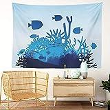 Y·JIANG Tapiz marino, diseño de vida marina y coral sobre fondo de fondo marino para el hogar, dormitorio, manta ancha para colgar en la pared para sala de estar, dormitorio, 80 x 60 pulgadas