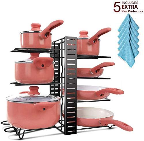 Masthome Pfannenhalter Verstellbar mit Reinigungstücher für Küche,Pfannen Regal Küche Rutchfest für Töpfe Pfannen Geschirrset geeignet