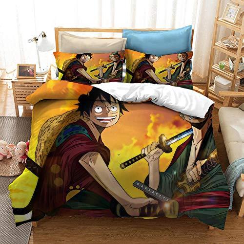 KIrSv Juego de Funda nórdica Impresa en 3D de una Pieza de Dibujos Animados con Funda de Almohada, decoración de Dormitorio para niños Adultos, Regalos, Juego de Ropa de cama-200x229cm (3 Piezas) _2