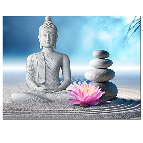 Visual Art Decor Buddha Canvas Wall Art Framed and Stretched Large Peaceful Buddha Act with Compassion White Sand Zen Stone Canvas Prints Buddhism Decoration for Wall (24'x32')