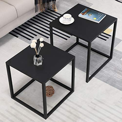 YF-Mirror Nesting Tables Set of 2, Stacking Side Tables, Nesting Coffee Table for Living Room with Metal Frame and Modern Textured Top - Black,Gold,Champagne
