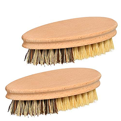 SUBEKYU Vegetable Brush Scrubber for Food. Brush of Potato/Mushroom/Carrot/Veggie。Hard and Soft Side and Durable Wooden Handle. Palm/Sisal Bristle.Unexceptionable Fruit Cleaning Tools