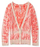 Aeropostale Womens Ikat Reverse Crop Cardigan Sweater, Orange, Large