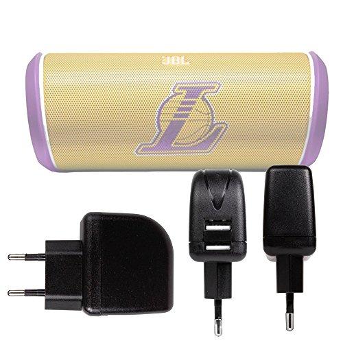DURAGADGET Cargador con Enchufe Europeo para Altavoz Portátil deleyCON SOUNDSTERS - rocktank Mini BT/Dknight Big MagicBox/JBL Clip NBA Edition - Lakers, Thunder/UberAudio Slim - con Doble Entrada USB