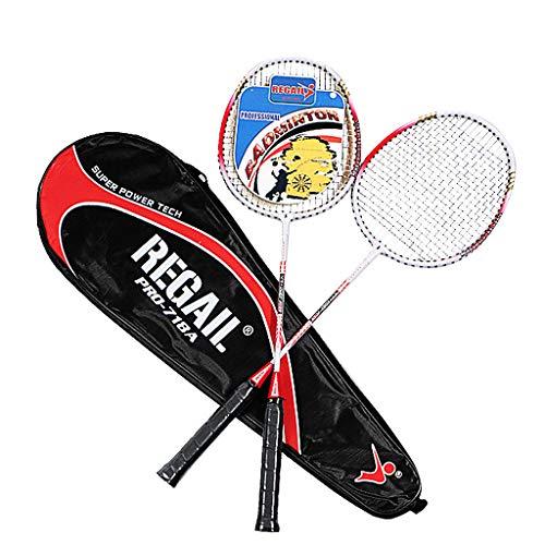 Badminton Schläger Set Badmintonschläger Leichtgewicht Badminton Schläger Federballschläger Federballschläger für Training, Sport und Unterhaltung mit Schlägertasche (Rot)