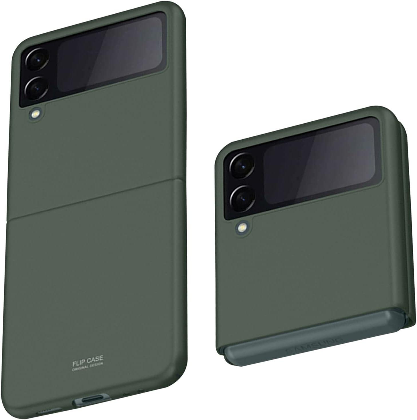 Z Flip 3 Case, Slim fit Samsung z flip 3 case 5G Phone Case Full Protection Cover Hard PC Shockproof Durable Protective Phone Cover for Z Flip3 5G (Green)