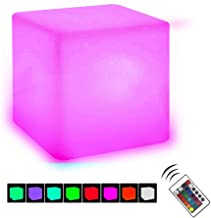 VACTER 4-inch Dimmable LED Cube Light,Mood Lighting Night Light Rechargeable LED, Ideal for Mood Lamp Home Pool Yard Party Bedroom Decorative Lighting (4 INCH)