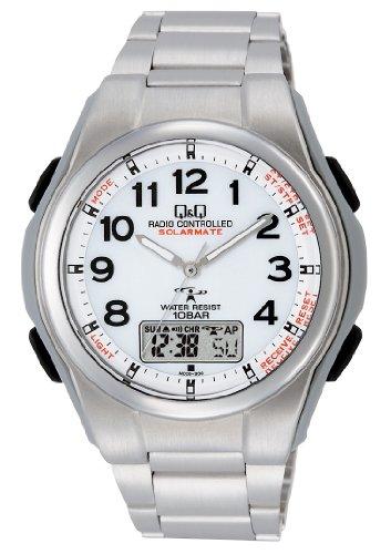 [シチズン Q&Q] 腕時計 アナログ 電波 ソーラー 防水 日付 メタルバンド MD02-204 メンズ ホワイト