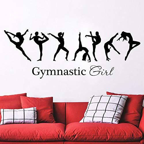 mgrlhm Schöne Mädchen Gymnastic Ballerina da Flagge Wandtattoo warme Familie Schlafzimmer Kunst Dekoration Wandaufkleber Sport Wandaufkleber für Gir42x125cm