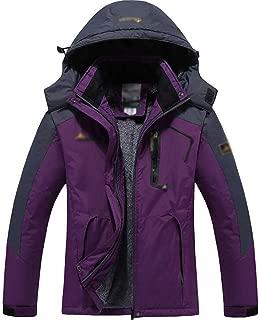 FYXKGLa Women's Outdoor Jacket and Velvet Warm Mountaineering Clothes Windproof Cotton Coat (Color : Purple, Size : M)