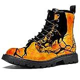 Halloween cuervo impermeable zapatos planos de encaje hasta botines de tacón bajo de trabajo botas de combate, color, talla 46 EU
