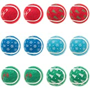 "BINGPET Tennis Balls for Dogs 12 Pack 2.5"" Christmas Dog Squeaky Toys"