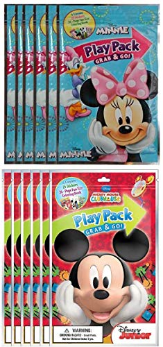 Value Pack - 12 Bendon Playback Grab and Go For Minnie and Mickey Mouse Fun Size Coloring Books Bulk For boys Girls Cartoon Characters Bulk activity books for kids Bundle Including 12 Bracelets