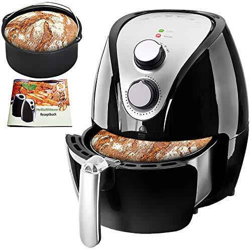 Heißluftfritteuse 3,2 Liter inkl. Brotbackkorb Heißluftofen 1300W Frittieren ohne Fett Öl Rezeptheft Kunststoff Schwarz