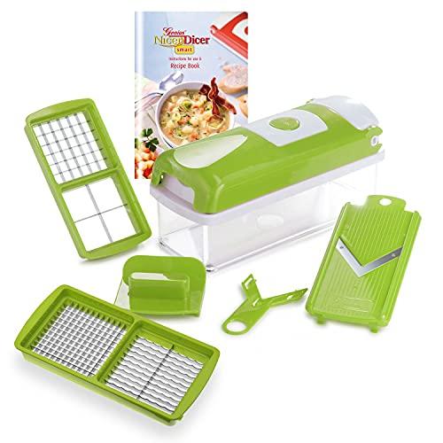 Genius Nicer Dicer Smart | 6 partes | Cortador de frutas y verduras | tirar dados | robar | cepillado | cortar | incluyendo folleto de recetas