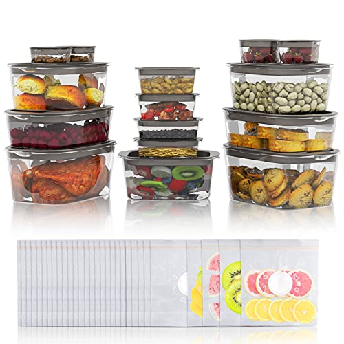 60-Piece Food Storage Containers Set (15 Pack Food Grade Storage...
