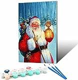 Vfvozr Pintar por Numeros Marco_Soñar con Papá Noel Nevado_Pintura para Adultos y Niños con 3X Lupa_Acrílica Pintar y Pinceles_30x45cm_Marco de Bricolaje