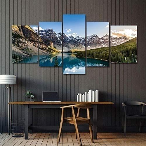 WUZHIXIN Stampa su Tela 5 Pezzi Fantasy Paesaggio di Tela di Montagne Quadri Moderni da Letto Elemento Unico Foto Moderno Cucina Dipinto Decorazione Soggiorno Camera Quadro Regalo/150X80Cm
