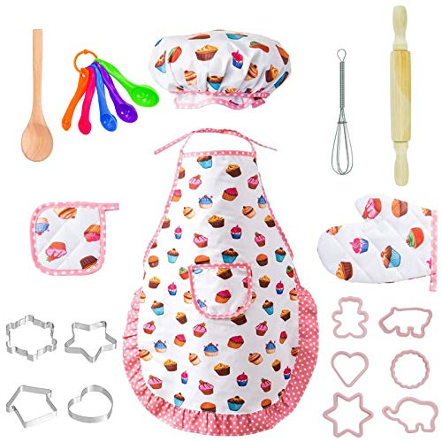 22 Pcs Kids Chef Role Play Costume Set, Toddler Cooking Apron Set, Apron and Chef Hat for Dress Up Chef Costume Career Role Play for Boys and Girls Ages 3+(Donuts)