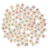 Healifty Holz-Buchstaben-Fliesen, 26 englische Alphabet-Scrabble-Stücke für Rechtschreibung, Basteln, Scrapbooking, Hochzeit, Verzierungen, 100 Stück
