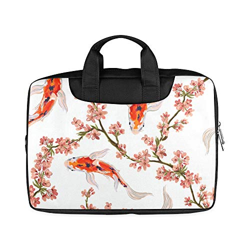13 Inch Tropical Japanese Flowers and Koi Fish Briefcase for Laptop with Handle Lightweight Ladies Laptop Bag Fits MacBook Air Pro