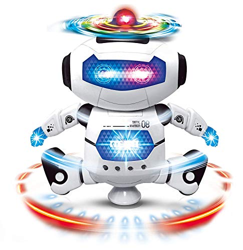 Cable World Dancing Robot with 3D Lights and Music,Non toxic plastic, Multi Color(Pack of 1)
