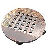 Cesta de madera para maceta, con ruedas, bandeja móvil para maceta, soporte para macetas redondas, para mayor carbonización, resistente a la corrosión