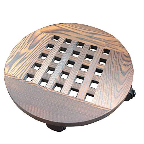 Cesta de madera para maceta, con ruedas, bandeja móvil para