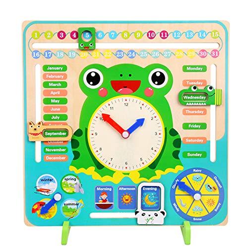 Fesjoy Reloj de Aprendizaje para niños, Reloj de Madera Multifuncional Herramienta de Aprendizaje de sincronización temprana Hora Mes Fecha Temporada Clima para niños Niños en Edad Preescolar