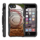 TurtleArmor | Compatible with Apple iPhone 7 Case | (4.7') [Octo Guard] Heavy Impact Proof Silicone Case Tough Hard Kickstand Belt Clip Holster Sports and Games - Baseball Dirt