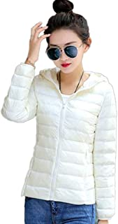Women's Hooded Down Puffer Jacket Lightweight Insulated Water Repellent Quilted Puffer Down Outwear Outdoor Cycling Coat (Color : White, Size : S)