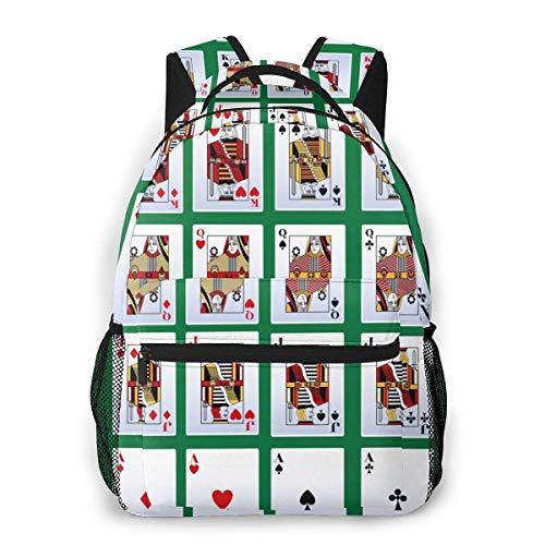 Lawenp Fashion Unisex Backpack Game Poker Gambling Bookbag Lightweight Laptop Bag for School Travel Outdoor Camping